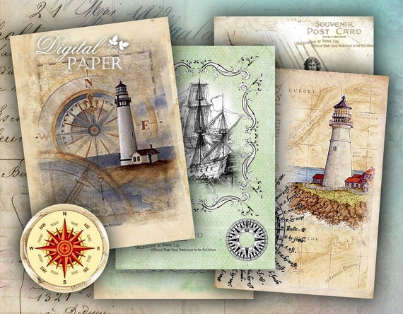 Compass - digital collage sheet - set of 8 - Printable Download