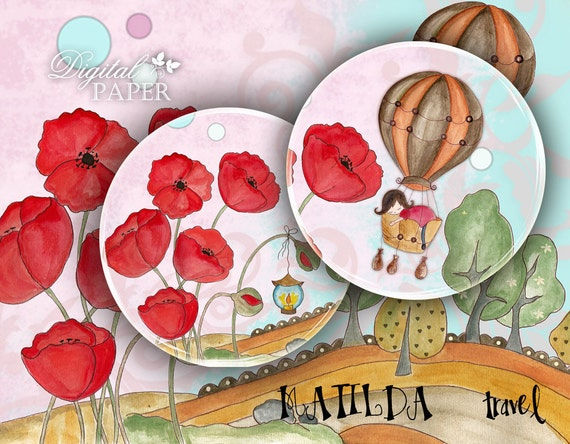 Matilda Travel - 2.5 inch circles - set of 12 - digital collage sheet - pocket mirrors, tags, scrapbooking, cupcake toppers
