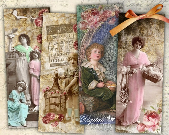 Romantic Bookmarks - set of 6 bookmarks - digital collage - printable JPG file