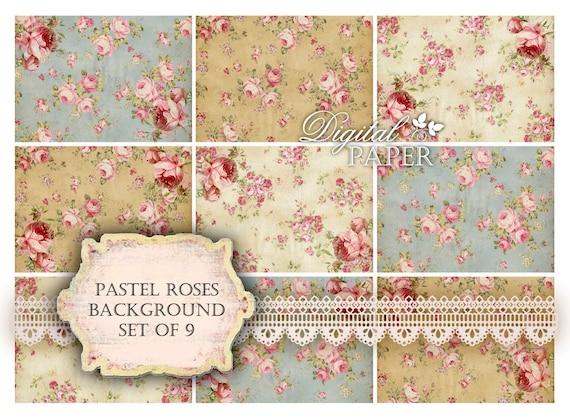 Pastel Roses - background - digital collage sheet - set of 8 - Printable Download