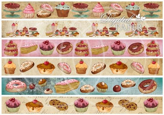 Cupcake Strips - digital collage sheet - set of 6 strips