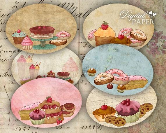 Cupcake Labels - set of 12 - digital collage sheet