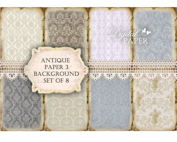 Antique Paper 3 - background - digital collage sheet - set of 8 - Printable Download