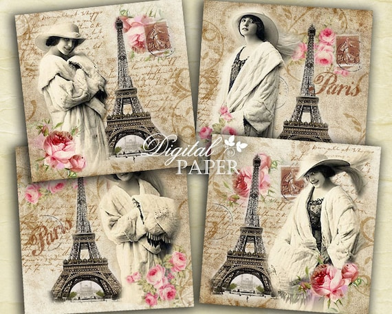Pink Paris - coaster - 4 x 4 inch - set of 4 cards - digital collage sheet