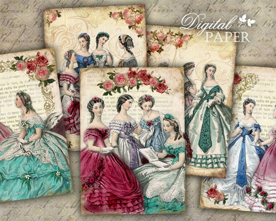 Amica Mia - digital collage sheet - set of 8 - Printable Download
