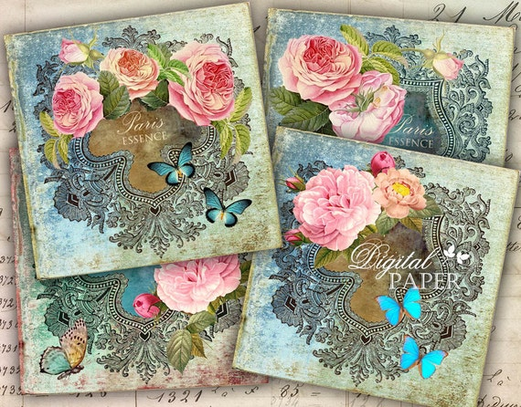 Antique Coaster - 4 x 4 inch - set of 4 cards - digital collage sheet - Printable Download