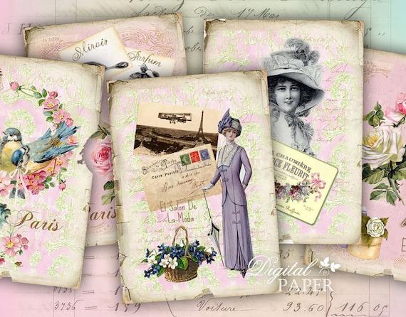 La Moda di Paris - digital collage sheet - set of 8 - Printable Download