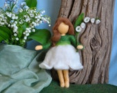 Spring flower fairy Waldorf inspired needle felted doll: Lilly of the valley  (Fée des Muguets)