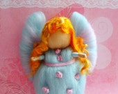 Ice Blue Needle Felted Wool Fairy with with Pretty Pink Highlights Pink Felted Flowers