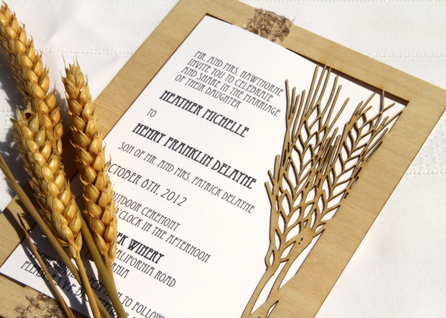 Wheat Fall Wedding Invitation and Response Card made from Wood and ...