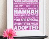 Custom Listing For Heidi: Adoption Girl Subway Art- DIGITAL 8X10