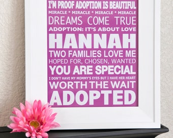 Custom Adoption Girl Subway Art- DIGITAL 8X10
