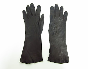 1950s Cocoa Brown Soft Kid Leather Gloves - Made in France - Size 6.5