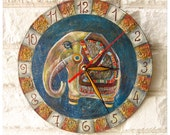 The Blue Indian Elephant  Wall Clock