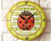 The Red Ladybird Large Wall Clock Home Decor for Children Baby Kid Boy Girl Nursery Stripes Kitchen