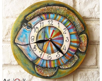 The Blue Striped Fish Wall Clock, Home Decor for Children Baby Kid Boy Girl Nursery Playroom Kitchen