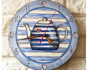 The Blue Teapot Wall Clock Home Decor for Children Baby Kid Boy Girl Nursery Stripes Kitchen
