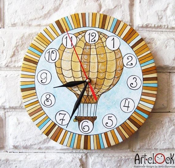 The Golden Balloon Wall Clock Home Decor for Children Baby Kid Boy Girl Nursery Playroom Stripes, wall clocks handmade