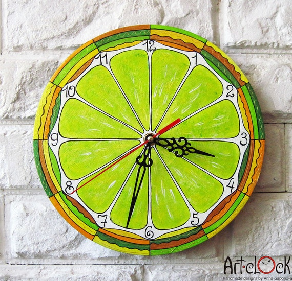 The Lemon Citrus Wall Clock, Modern wall clock with numbers, White wall clock, wood clock, white home decor, for Office, Kitchen style.