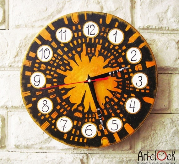 The City of the Sun Wall Clock, Modern wall clock with numbers, wood clock, white home decor, kids gift, for Office, Industrial style.