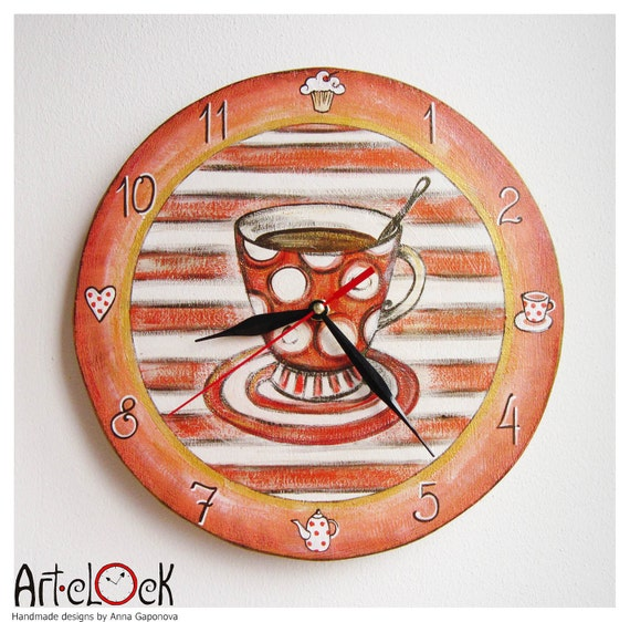 The Red Cup of Tea Wall Clock Home Decor for Children Baby Kid Boy Girl Nursery Stripes Kitchen