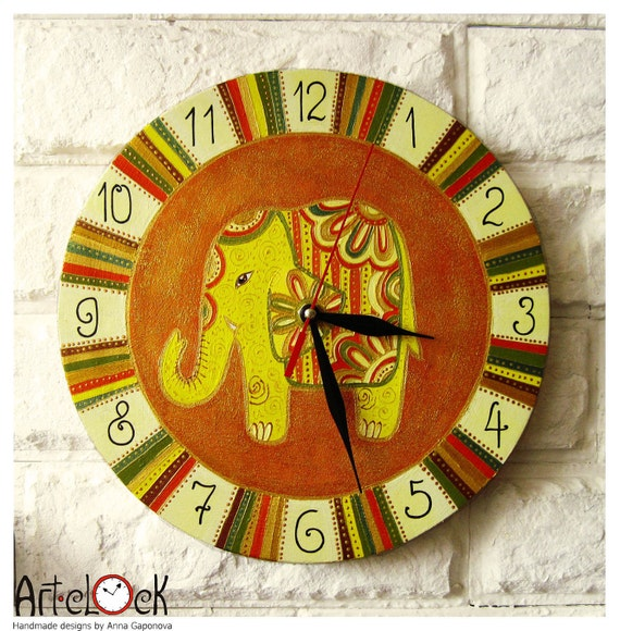 The Yellow Indian Elephant  Wall Clock, wall clocks handmade