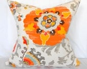 Indoor Outdoor Pillow Covers ANY SIZE Decorative Pillows Ikat Orange Pillow P Kaufmann Outdoor Silsila Gold