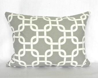 CLEARANCE SALE  Lumbar Pillow Premier Prints Gotcha Storm Grey White