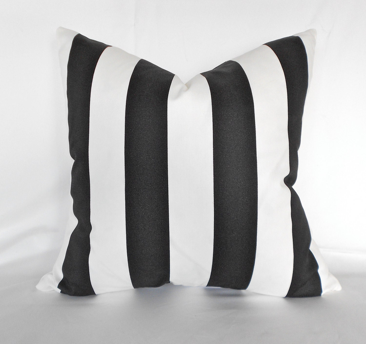 Black Ivory OD 3 Stripe Outdoor Pillow Cover by MyPillowStudio