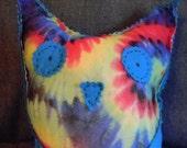 Grateful Owl Blue tye dye soft pillow