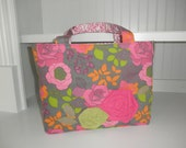 Tote - Grey, Orange, Lime and Hot Pink Floral