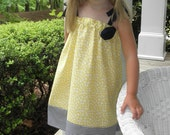 Reserved for pharmdsue - Girl's A-Line Tunic Dress - Yellow and Blue - Made to Order