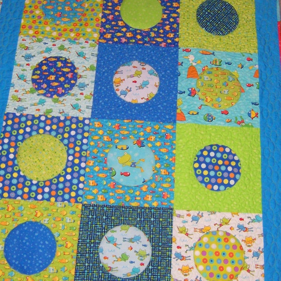 Beginner Quilt Patterns For Baby : Items similar to Baby Quilt Download Baby Bubbles 417P Pattern Easy Beginner on Etsy
