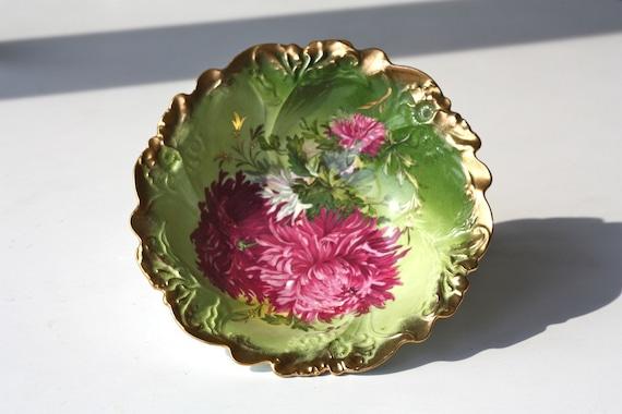 Vintage German Porcelain Painted Floral Bowl with Gilt Edges P.S. Germany Petro