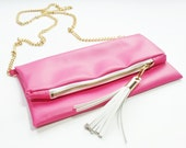 Leather Handbag in Hot Pink Leather -Reserved for Ashley-