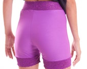 Lace Trimmed Purple Biker Shorts -Made to order-