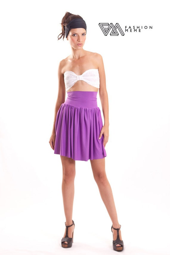 Purple Short Skirt Foldover Waistband
