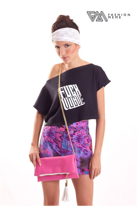 ON SALE Black Cropped T Shirt with Graphic Print