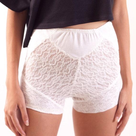 White Lace Boxer Shorts 90s Cut Underwear