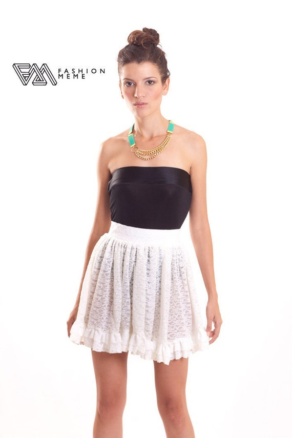 Ruffled Skirt White Floral Lace