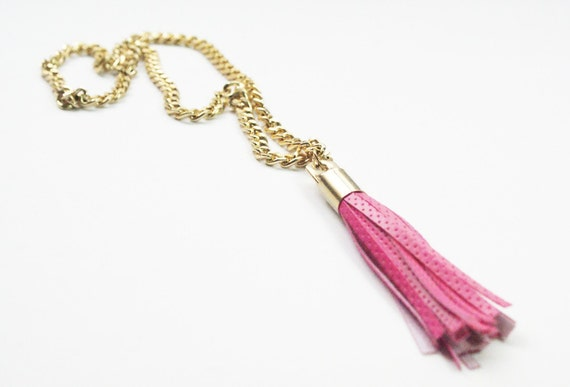 Gold Necklace with Pink Leather Tassel