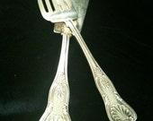 "James Dixon 1800's Silver Plate Fish Serving Set - ""King's Pattern"""