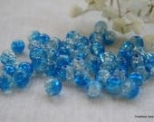 6m Blue and Clear Crackle Glass Beads