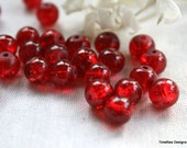 8 mm Red Glass Crackle Beads