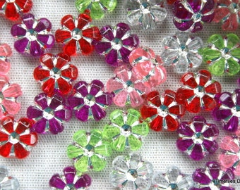 15 Cololrful Acrylic Flower Beads