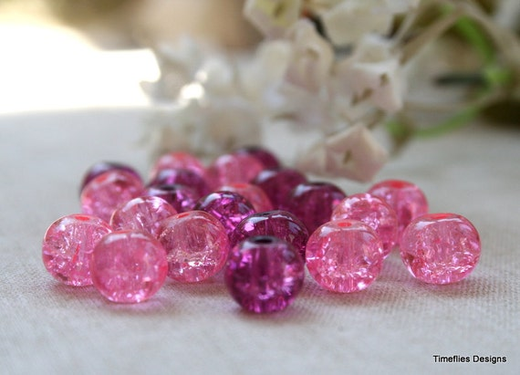 8mm Purple and Pink Crackle Beads