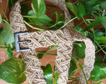 "Macrame Belt ""Path in the Jungle"", knotted of  natural (light-brown) jute fiber  MADE TO ORDER"