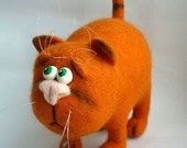 Needle Felted Toy - Orange cat -Soft Sculpture, OOAK