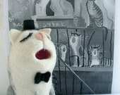Needle Felted Toy - Gray and white cat -Soft Sculpture, OOAK