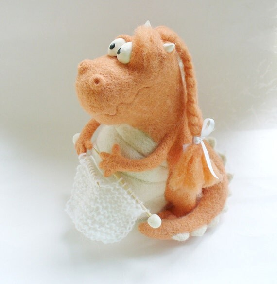 Needle Felted Toy - Dragon-Peach-Soft Sculpture, OOAK